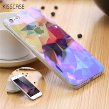 KISSCASE For iPhone 7 6 6S Case Blue Ray Light Clear Transparent Cover Mobile Phone Case For iPhone 6 8 plus X Case Capa Fundas