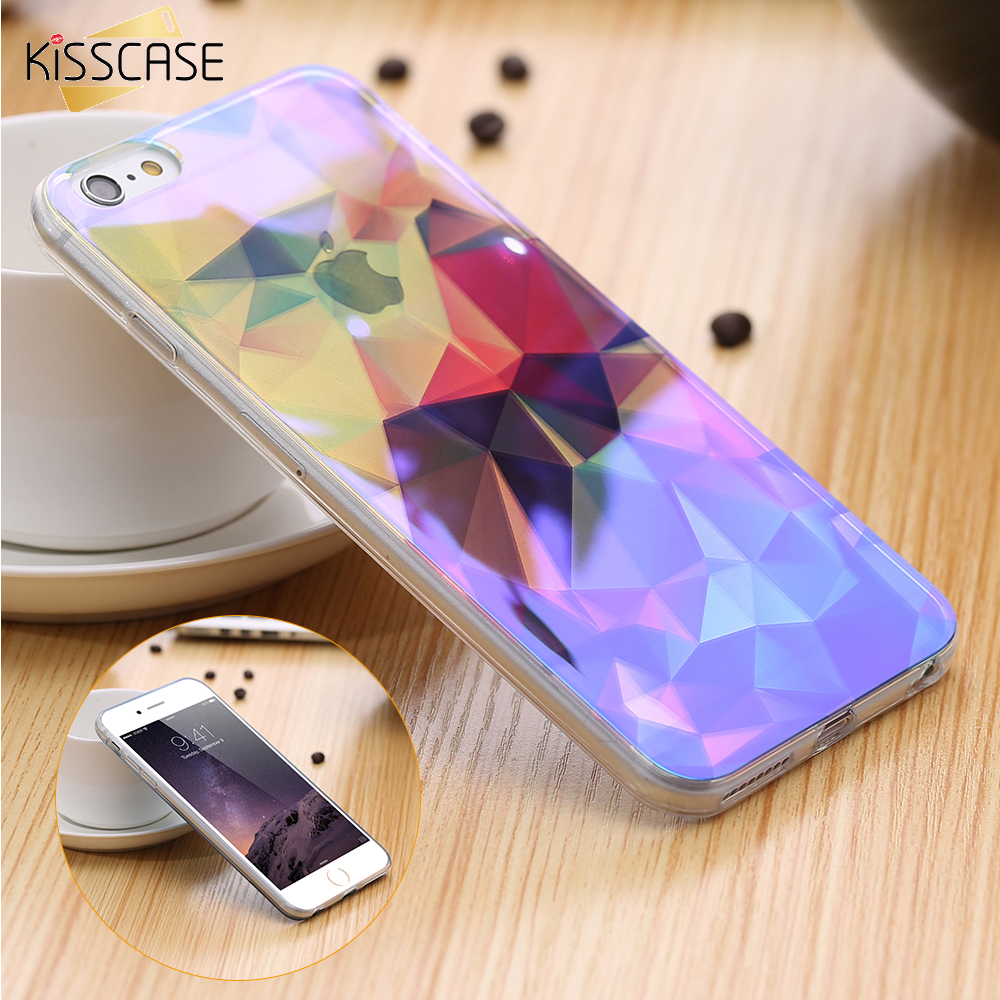 KISSCASE Modern Blue Ray Light Clear Mobile Phone Case For iPhone 7 6 6S 6 Plus 6S Plus Transparent Cover For iPhone 6 6S 5S SE