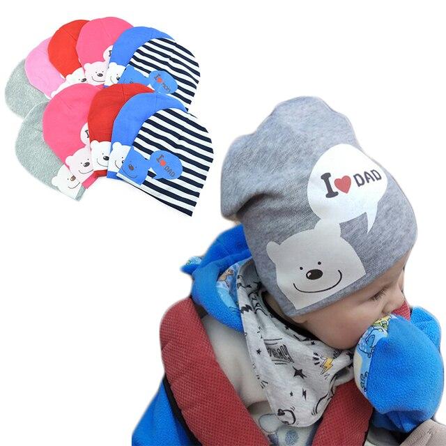 4093a2600d9c3 I LOVE MOM/DAD Cartoon Bear Knitted Cotton Beanie Cap Cute Baby Hat Warm  Spring