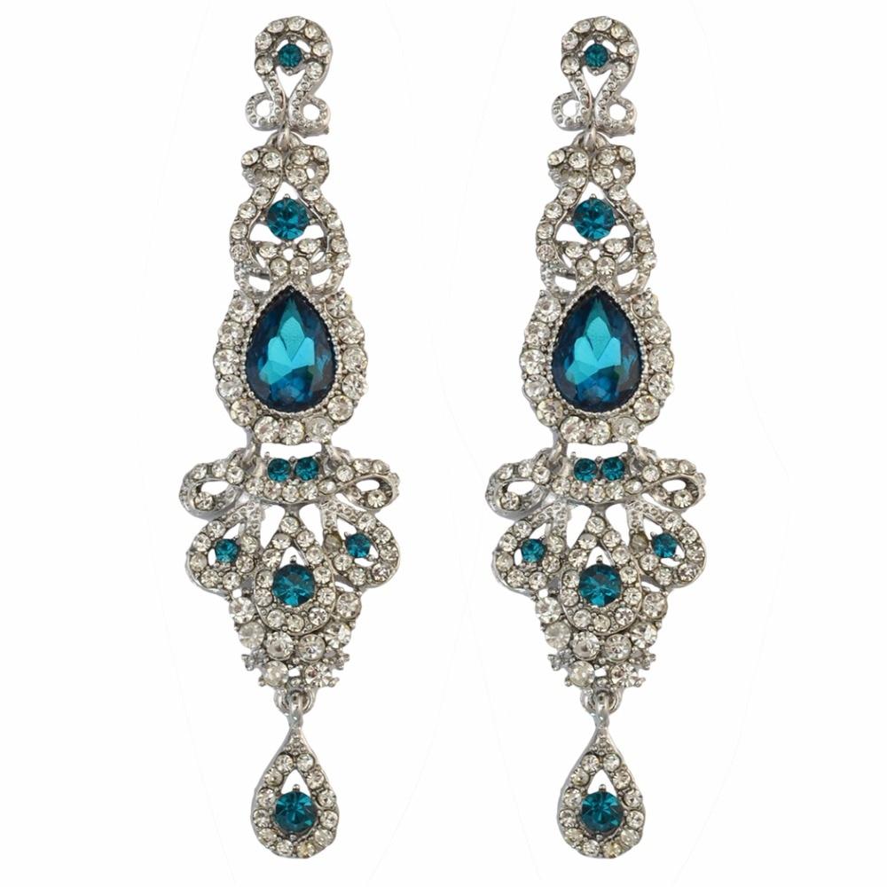 Κρύσταλλο μακρύ σκουλαρίκια για τις γυναίκες μπλε μοβ πράσινο χρώμα πολυέλαιος νυφικό Dorp σκουλαρίκια oorbellen γάμος αρραβώνων εμπλοκής