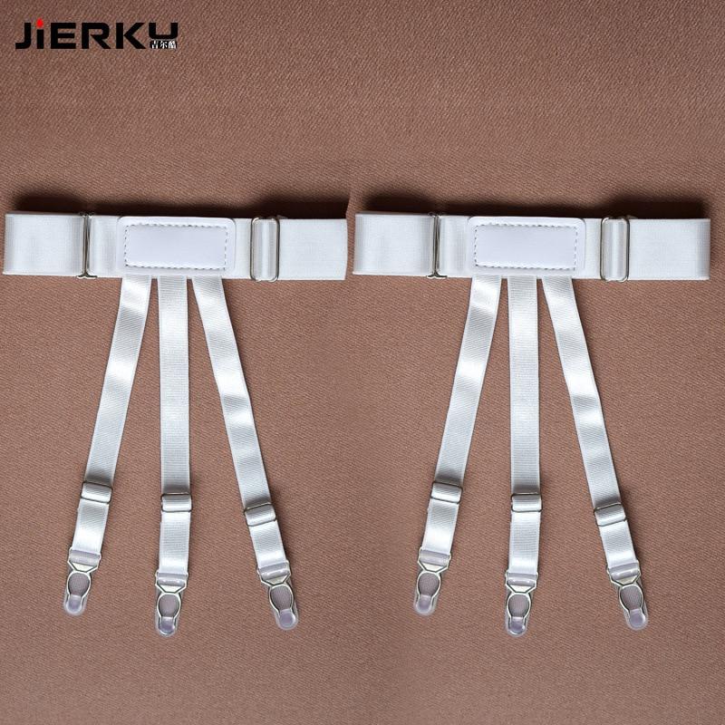 JIERKU Shirt Garters Man's Shirt Stays Holder Leg Suspenders Shirt Braces White Color Gourd buckle Shirt Garters 1pair GW08233