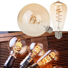 Retro Spiral Filament LED Bulb ST64 G125 AC 220V Edison Globe Lamp 2200K Warm Yellow For Home Bar Shop