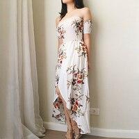 Dress Summer 2018 Female Strapless Dress Ladies Chiffon Printed Furcal Beach Dress Maxi Long