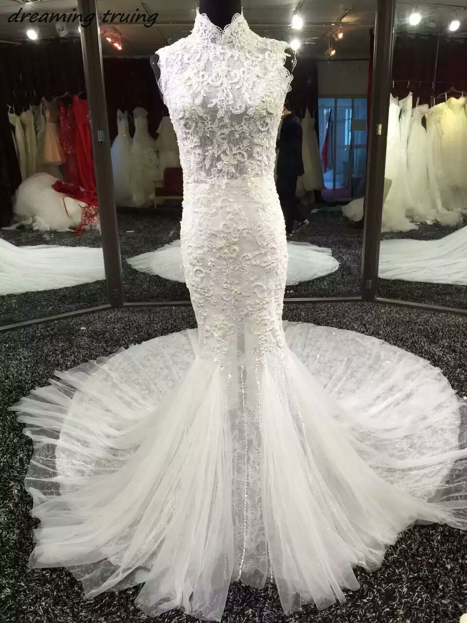 Dreamingtruing высокое качество Кружево Свадебные платья Русалочки высокое Средства уход ...