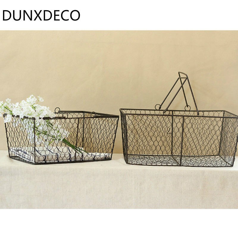DUNXDECO Home Office Lagerung Iron Drahtkorb Floras Magazin Halter ...