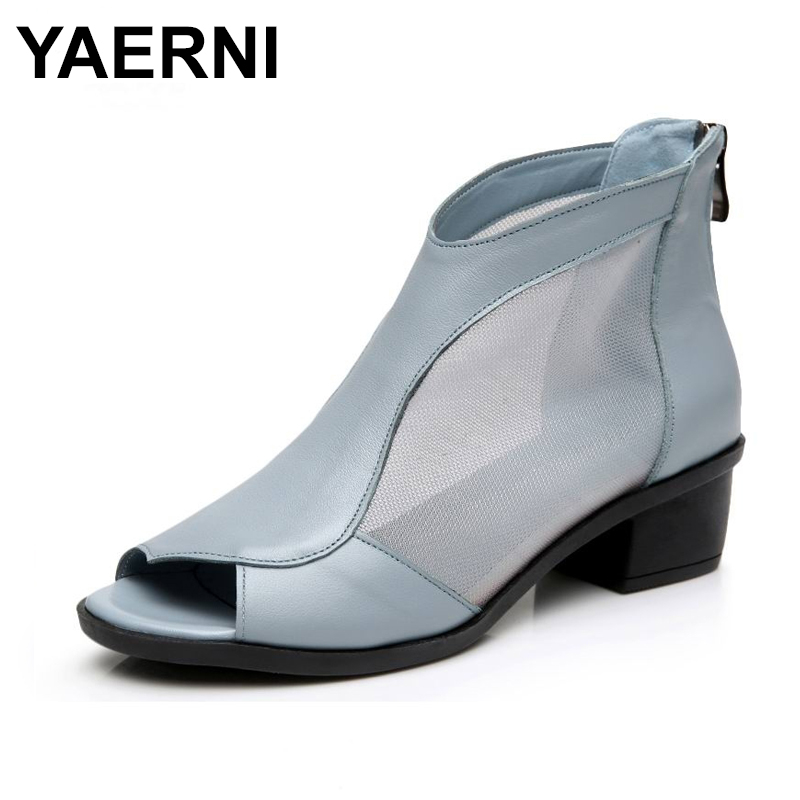 YAERNIFashion women's genuine leather summer shoes open toe sandals lace net boots thick heel mujer sandals gladiator gauze size