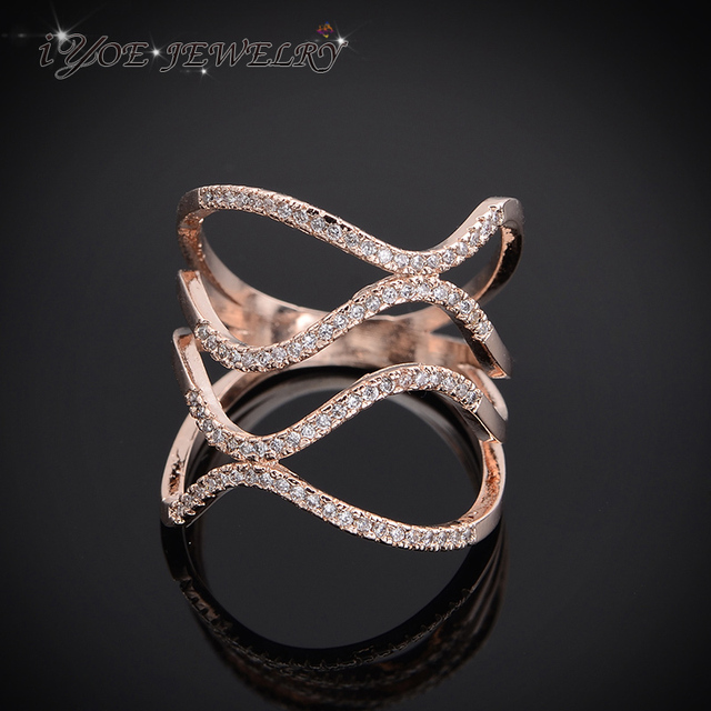 IYOE Luxury Sparkling Crystal Twist Rings For Women Wedding Brand Celebrity Engagement Rings Cocktail Party Jewelry