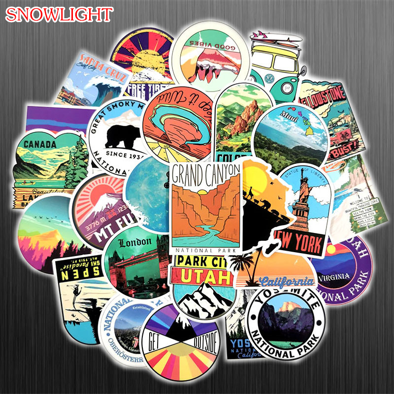 50Pcs Retro Travel Outdoor Adventure Doodle Cartoon Mixed Stickers For Motorcycle Skateboards Laptop Luggage Sticker Bomb Decals