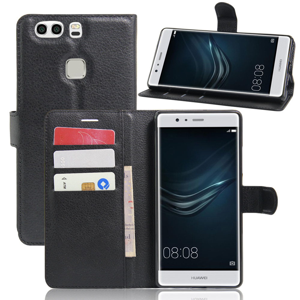 miglior servizio b170a ae3d5 US $1.45 26% OFF|Fashion Wallet PU Leather Case Cover Flip Protective Phone  Back Shell For Huawei P9 Plus Visa Card Slot With Stand-in Flip Cases from  ...
