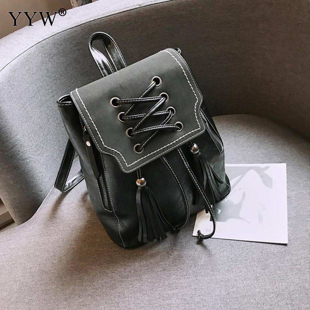 Rucksack Teenage-Backpacks Student Shoulder-Bag Vintage Pu String Tassel Female Girls