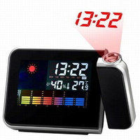 Black Digital Weather Forecast Clock Snooze Temperature And Humidity Projection Alarm Clock Calendar Led Backlight New