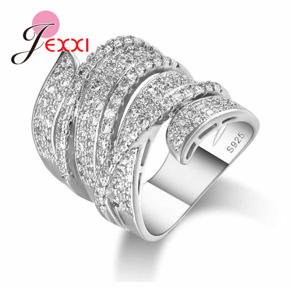 JEXXI Hot Sale 925 Sterling Silver Punk Wide Hollow Band Ring Micro Inlay White Crystal Women Girls Best Wedding Bridal Jewelry punk style solid color hollow out ring for women