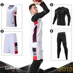 4PCS/Set Winter Basketball Jersey With Compression Tights Mens Sports Tights Sports Jerseys Basketball Shirt Fitness Workout Kit
