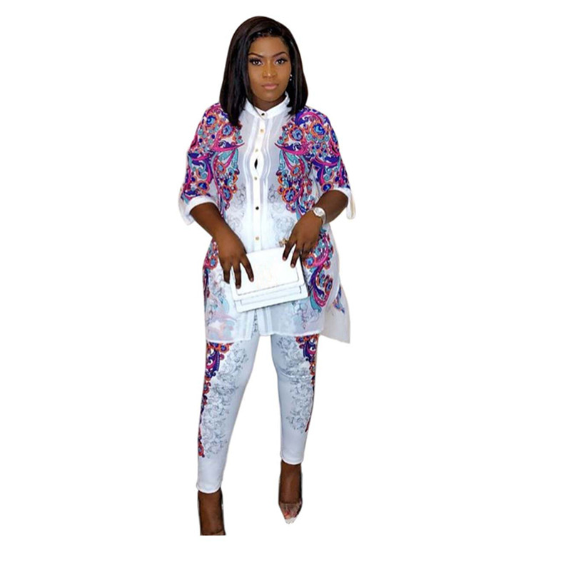 Pant 2pcs Womens Set Sportswear Outfits Suit Am305x Women's Sets 2019 Winter Spring Long Sleeve Africa Print Hot Drilling Tracksuit Shirt
