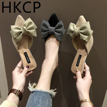 HKCP Fashion 2019 new European and American flip-flop toe fashion trend bow ladys slipper stiletto slippers C161