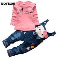 2016 Autumn Baby Girls Hello Kitty Clothing Set Children Denim Overalls Jeans Pants Blouse Full Sleeve
