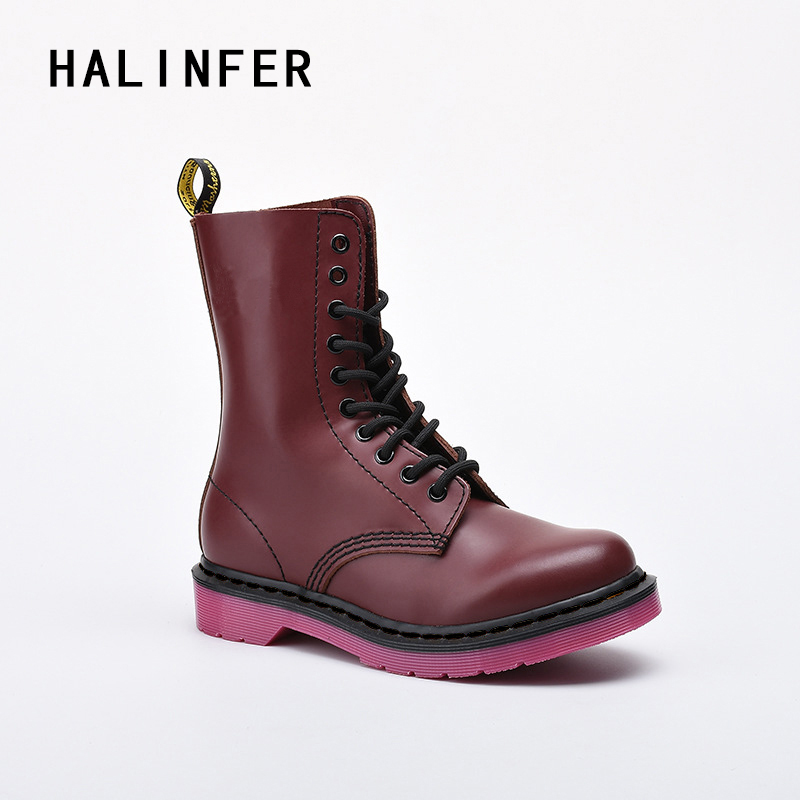 HALINFER martin boots for women genuine leather lace up 10 eyes fashion sewing platform wine red ankle boots ...