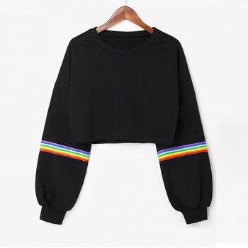 Womens rainbow Striped Sweatshirt Long Sleeve Jumper Black Crop Short spring winter outfit sweatshirt blouse Top blusas tumblr joelheira magnética alívio