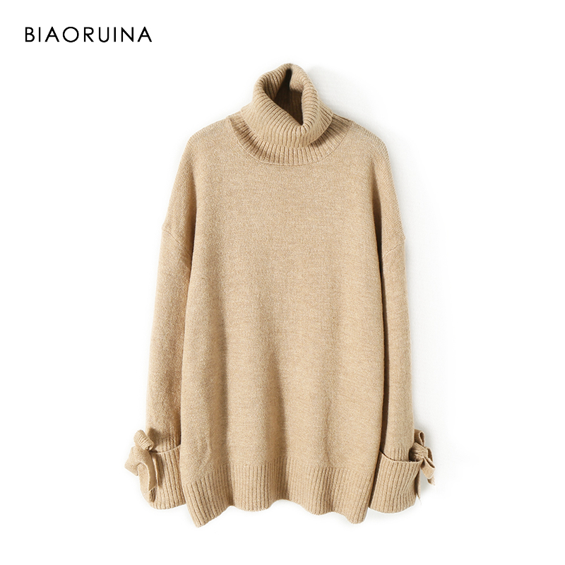 BIAORUINA Women's Fashion All-match Loose Knitted Sweater Ladies Casual Turtleneck Pullovers Bow Lace Up Warm Sweet Sweaters 2