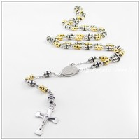 72cm*8mm Fashion Style Stainless Steel Silver Gold Beads Sweater Chains Crucifix Rosary Cross Jesus Necklaces For Men Women