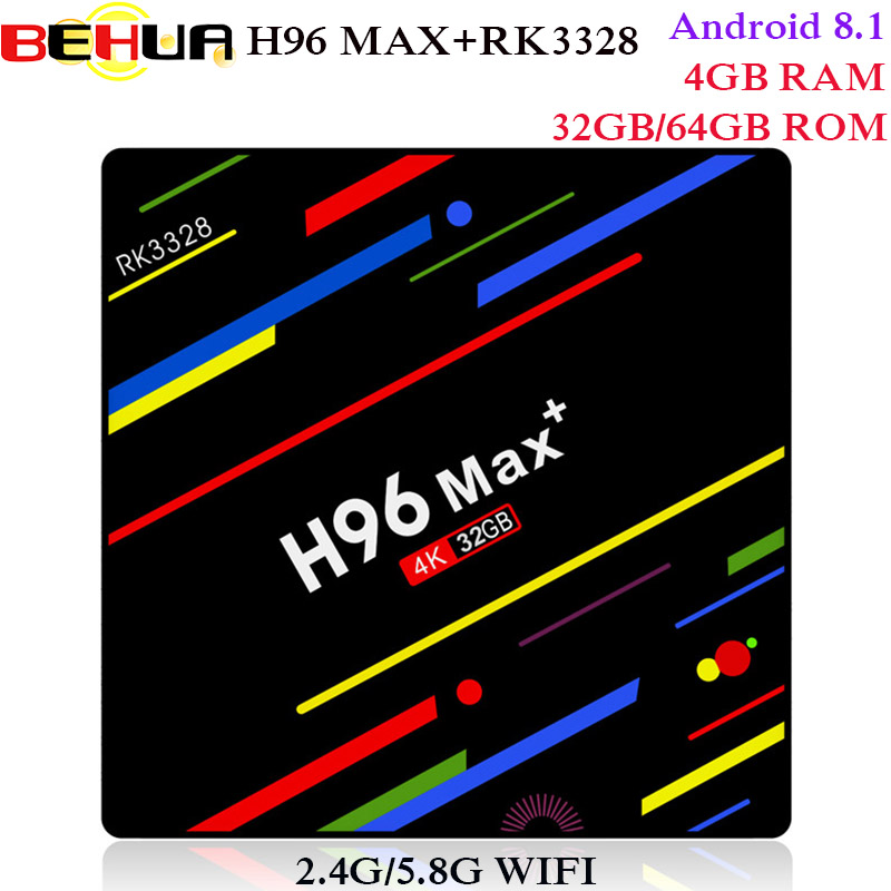 H96 MAX Plus Android 8.1 smart TV Box 4GB RAM 64GB ROM Set Top Box RK3328 2.4G/5G Wifi 4K H.265 3GB 32GB Media Player pk h96 pro alfawise h96 pro tv box 3gb ram 64gb rom