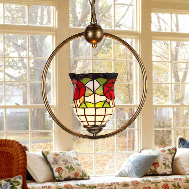 Stained Glass Pendant Light Fixtures Art Deco Lampshade E27 LED Lamp Loft Dining Room Lighting Tiffanylampe