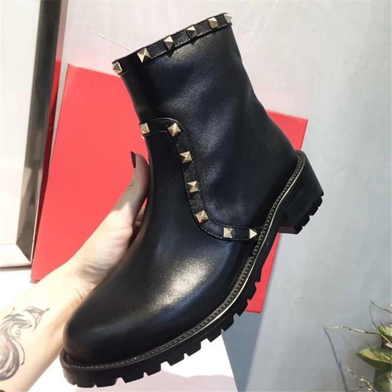 Bottines Luxe Décor Femmes Noir Bottes Zapatos En Chaussures Show Nouvelle Hiver Conception Arrivée As Automne Mujer Femme Rivers Rond De Cuir Bout nZPwx7E