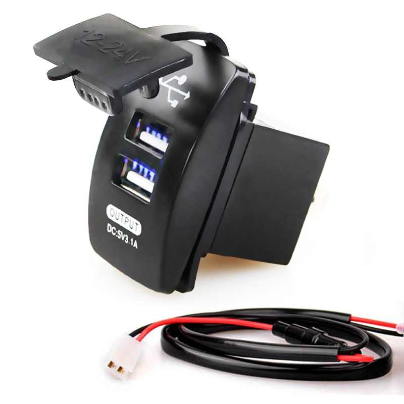 12-24V Dual USB Car Charger 5V 3.1A Universal Auto Charger for Car Motorcycle Electric Car ATV Boat