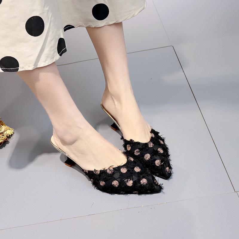 Vicamelia 2019 Summer Vogue Lady Mules Slides Women Thin High Heel Slippers Polka Dot Slides Women Casual Pumps Shoes 309 in Women 39 s Pumps from Shoes