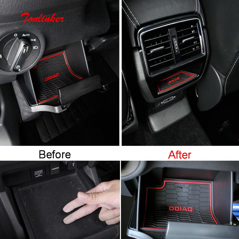 Tonlinker Interior Door Groove Mat Covers case sticker For Skoda KODIAQ 2018 Car Styling 2 PCS Silicone/Leather Cover stickers