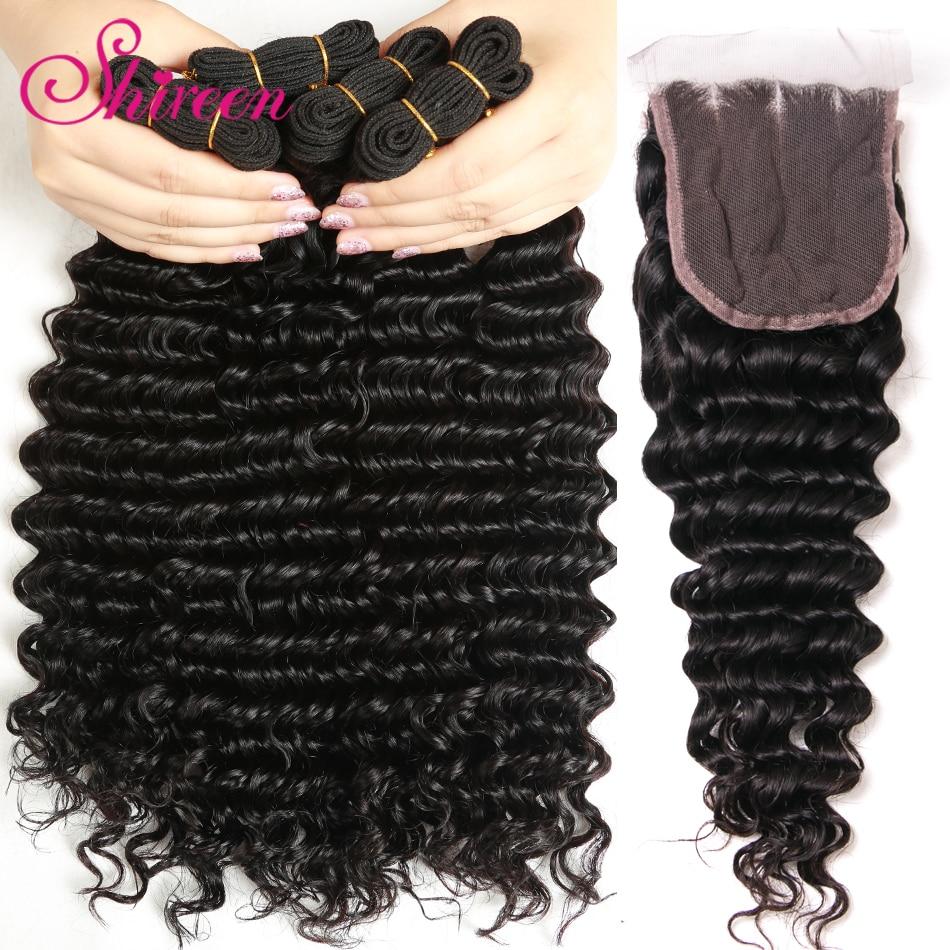 Shireen Hair Deep Wave Human Hair Bundles With Closure 4 pcs/lot Brazilian Hair Weave Bundles With Closure Remy Hair Extension