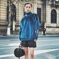 [XITAO] 2017 Primavera das mulheres do estilo retro cor azul de gola alta pullover camisolas de manga longa bordado feminino maré rua BF010