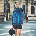 [XITAO] 2017 Spring retro style women blue color turtleneck pullover long sleeve sweatshirts female embroidery street tide BF010