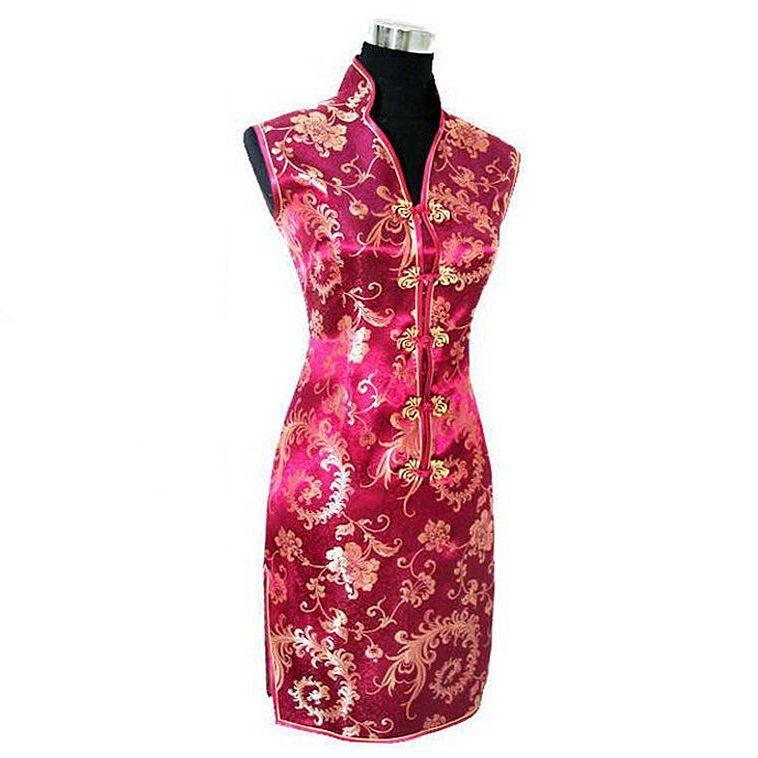 Burgundy Traditional Chinese Lady Dress Mujeres Vestido Female Satin V-Neck Mini Cheongsam Qipao Size S M L XL XXL XXXL JY012-7