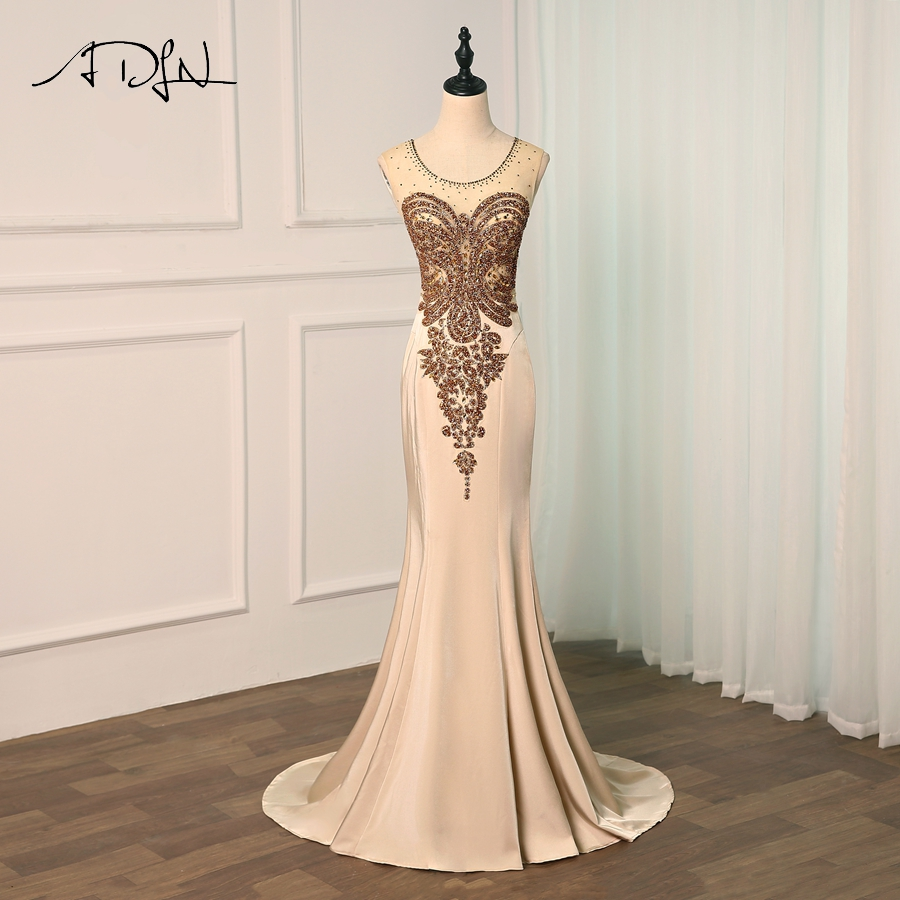 ADLN Sexy See Through Plus Size   Prom     Dresses   Gold Beads Mermaid Floor-length Long Formal   Dress   Evening Gown Robe De Soiree