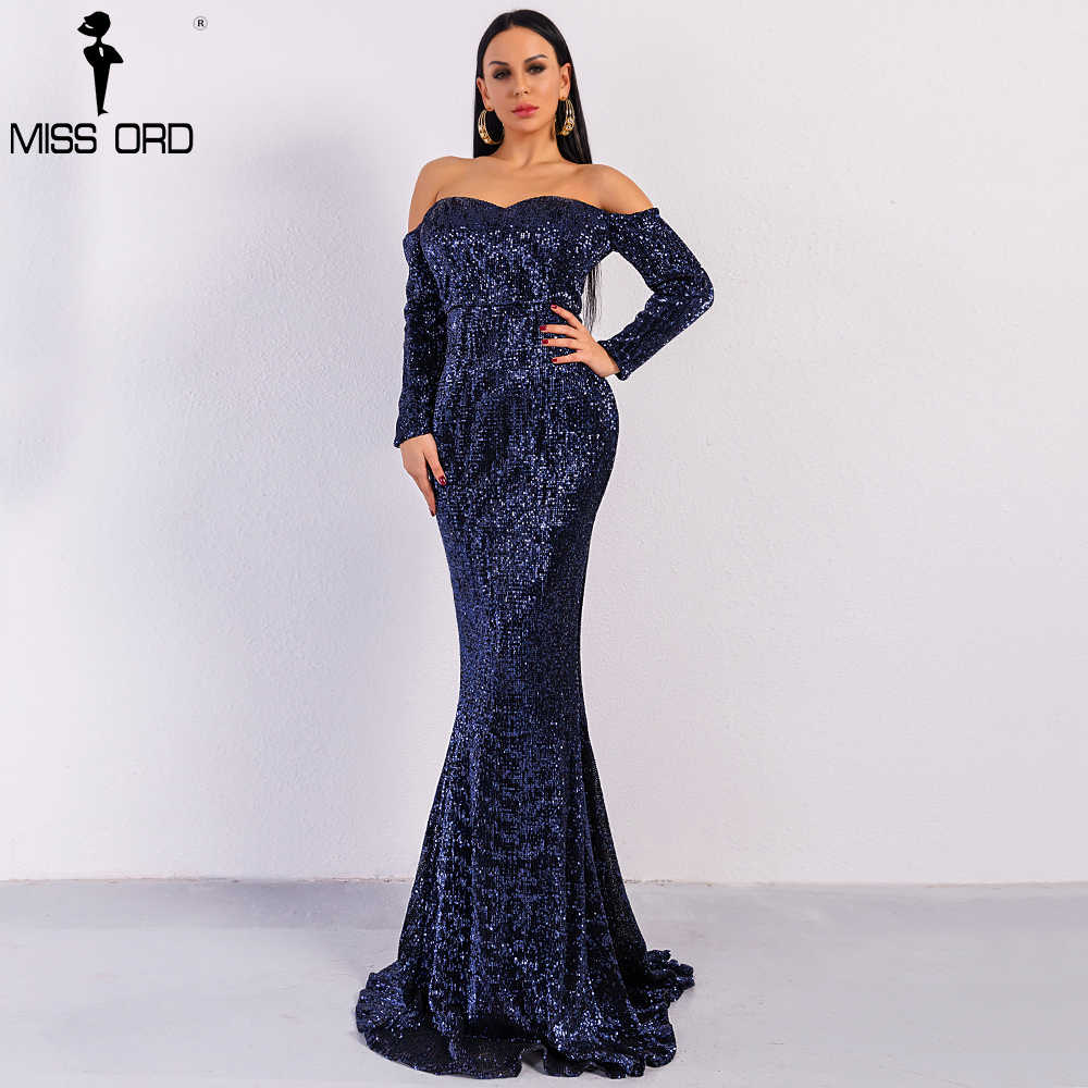 Missord 2019 Sexy BRA Long Sleeve Off Shoulder Sequin Backless Dresses  Women Skinny Maxi Party Elegant 268578e0d76f