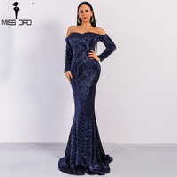 Missord 2019 Sexy BRA Long Sleeve Off Shoulder Sequin Backless Dresses Women Skinny Maxi Party Elegant Dress FT8714