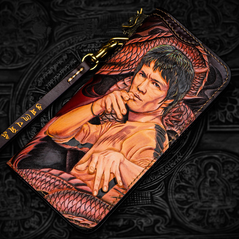 High-grade Handmade Superstar Bruce Lee Wallets Colour Zipper Purses Men Long Clutch Vegetable Tanned Leather Wallet Card Holder