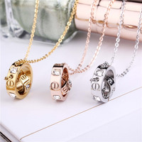 Trendy Stainless Steel Choker Necklace Pendant Women Crystal PVD Gold Plated Rose Gold Silver Couple Love