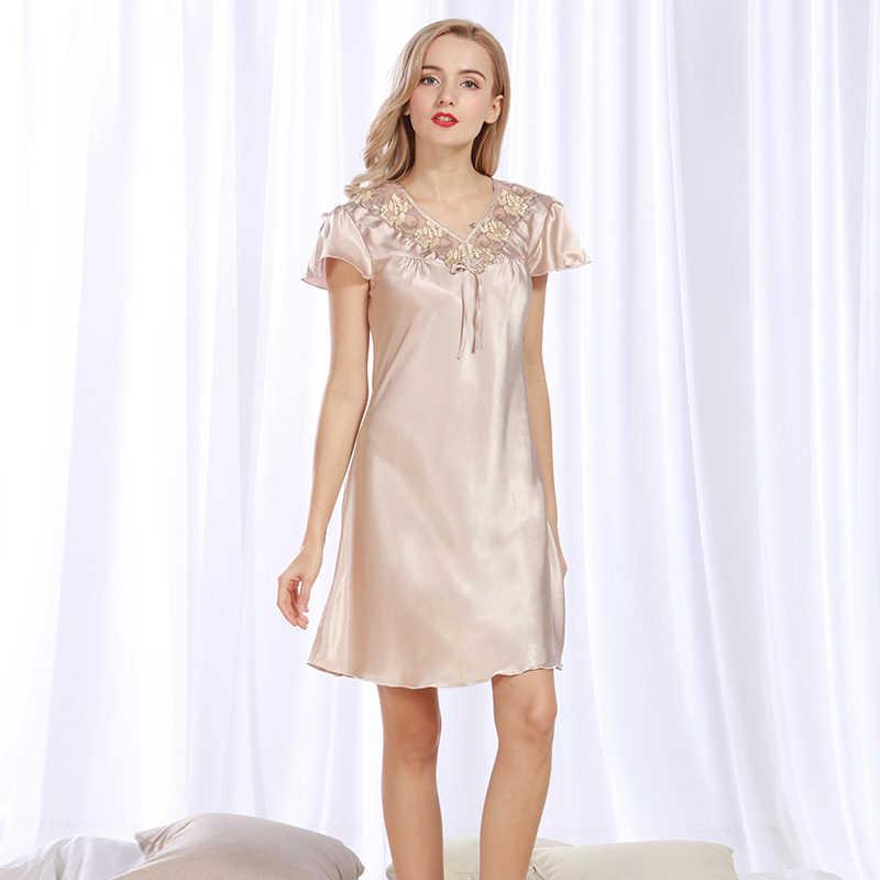 Для женщин пикантные шелковые атласная ночная рубашка короткий рукав  пижамная рубашка v-образным вырезом рубашки 6d1533b045d14