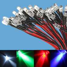 12V light emitting tube 5 mm F5 Light Emitting Diode 12 volt LED lamp beads Pre Wired Bright White 20CM Lamp Bulb