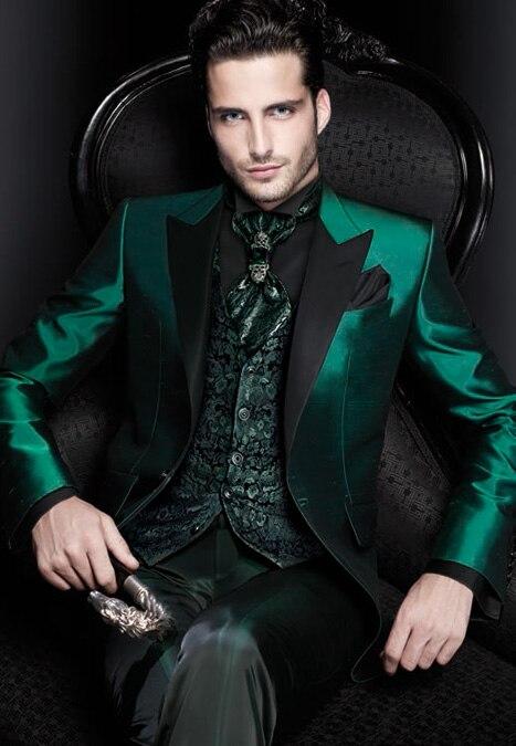 Latest Coat Pant Designs Green Satin Italian Men Suit Slim
