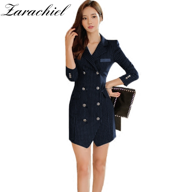 2a6c655416b5b Office Wear For Women Black Blazer Dress Summer V-neck With Belt Corsage  Double-breasted Sleeveless ...