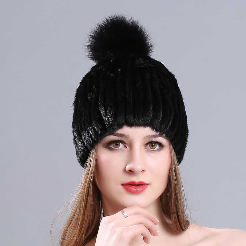 Thicken Knitting Hat Solid lined Elastic Russian Beanie With Luxury Fox Fur Pompon Cap Women Winter Real Mink Fur Beanie Hats the new children s cubs hat qiu dong with cartoon animals knitting wool cap and pile