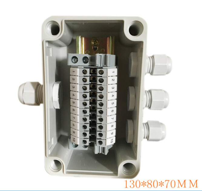 Plastic waterproof outdoor terminal box one into three 32A 220V 10 terminal junction cassette cartridge 4pcs a lot diy plastic enclosure for electronic handheld led junction box abs housing control box waterproof case 238 134 50mm