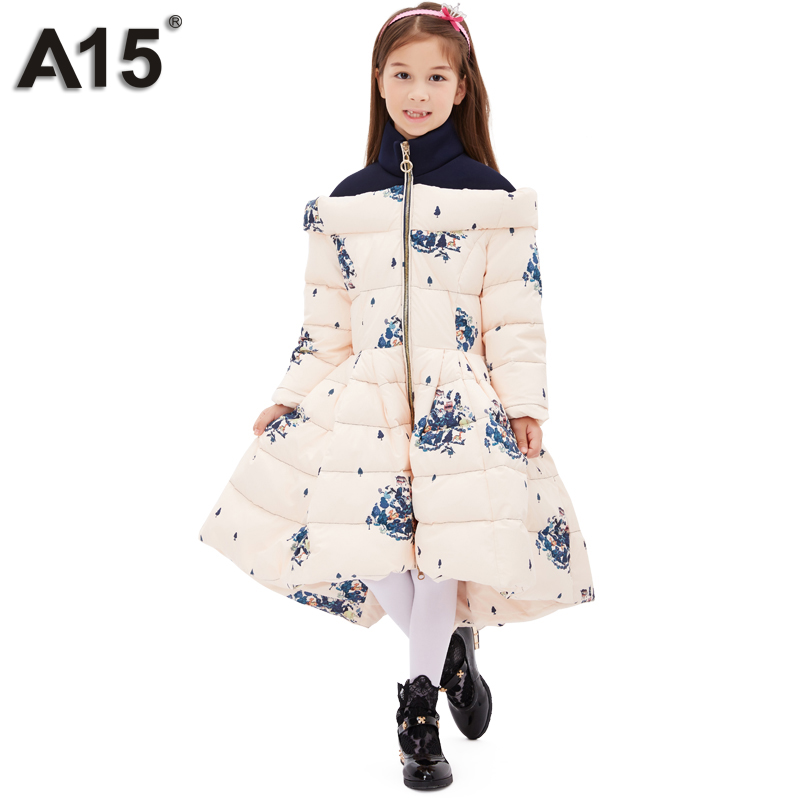 A15 Girls Jackets Winter 2017 Long Warm Duck Down Jacket for Girl Children Outerwear Jacket Coats Big Girl Clothes 10 12 14 Year a15 girls down jacket 2017 new cold winter thick fur hooded long parkas big girl down jakcet coat teens outerwear overcoat 12 14