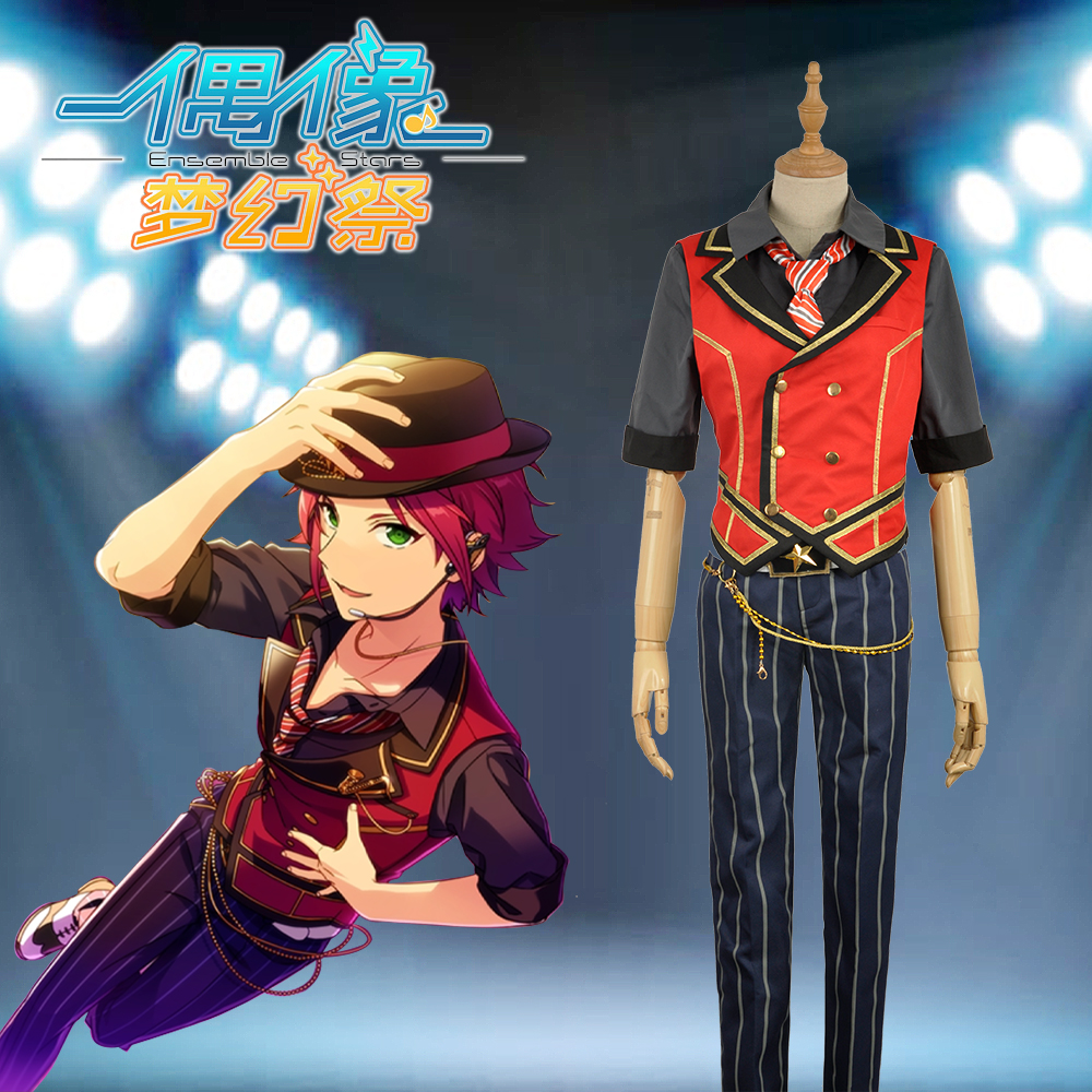 Ensemble Stars Feast Isara Mao Uniform Cosplay Costume Custom Outfit Checkered Trousers Clothing For Adult Vest