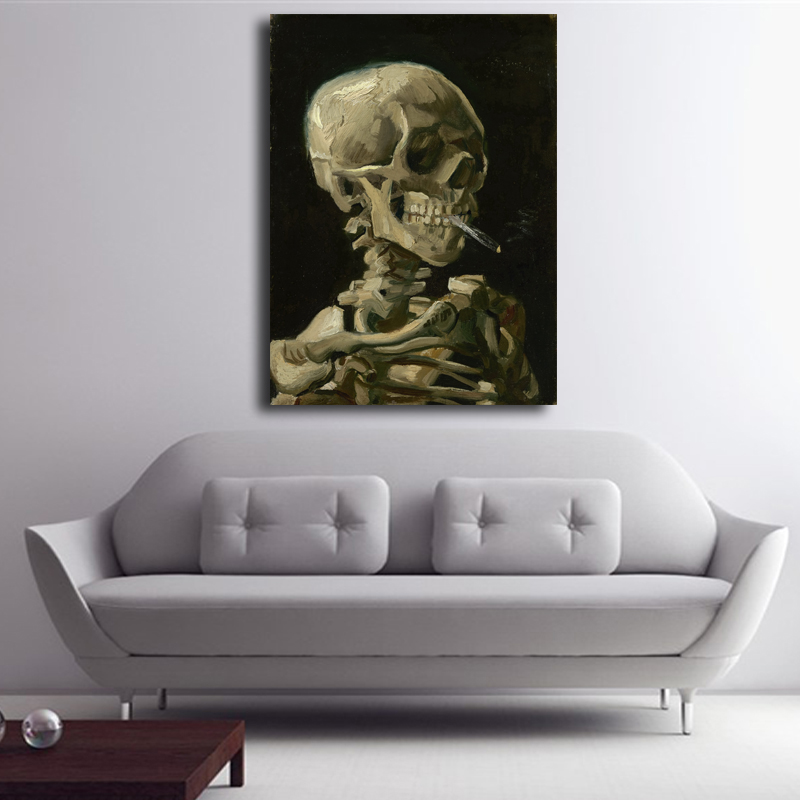 Hot Sale Painting Reproductions Skull with Burning Cigarette Van Gogh Oil Painting On Canvas Wall Art Home Decoration Unframed ...