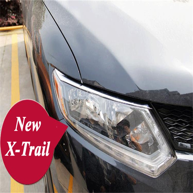ABS Chrome Front Head Light Eyebrow Eyelid for 2014 2015 2016 Nissan X-Trail T32 Rogue Front Light Eyelid Cover Trim Car-Styling for volvo xc60 abs chrome front
