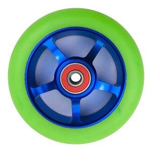 Image 1 - 2 peças/lote 88a 100mm rodas de scooter com rolamentos de liga de aço roda hub alta elasticidade e precisão velocidade patinação roda a116